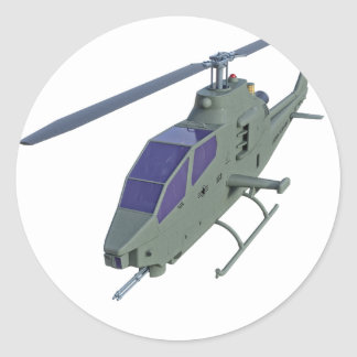 Apache helicopter in front view classic round sticker