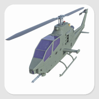Apache helicopter in front view square sticker