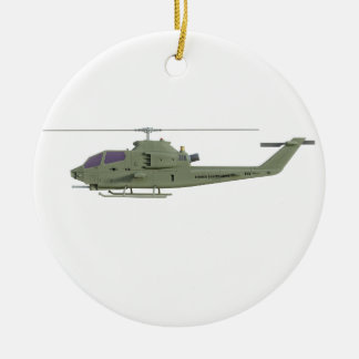 Apache helicopter in side view profile ceramic ornament