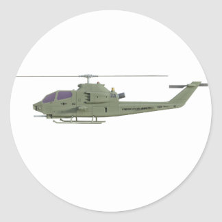 Apache helicopter in side view profile classic round sticker