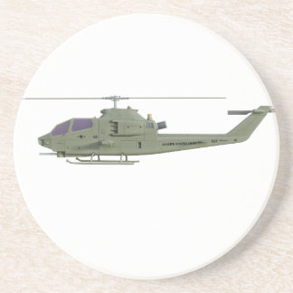 Apache helicopter in side view profile coaster