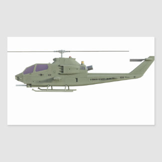 Apache helicopter in side view profile rectangular sticker