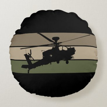 Apache Helicopter Round Pillow