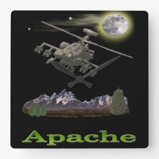 Apache helicopter square wall clock