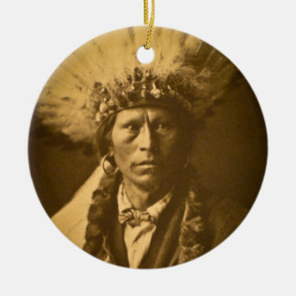 Apache Indian Chief Garfield Jicarilla Vintage Ceramic Ornament
