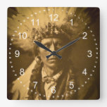 Apache Indian Chief Garfield Jicarilla Vintage Square Wall Clock