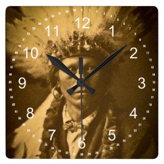 Apache Indian Chief Garfield Jicarilla Vintage Square Wall Clock