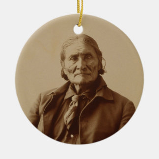 Apache Indian Leader Geronimo by Adolph F. Muhr Double-Sided Ceramic Round Christmas Ornament