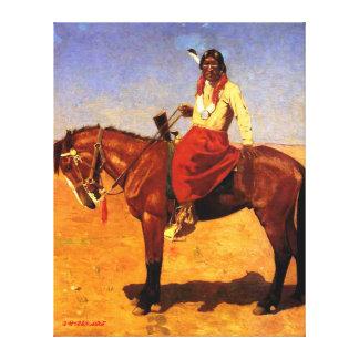 Apache Indian on Horseback - Gaspard Latoix Canvas Print