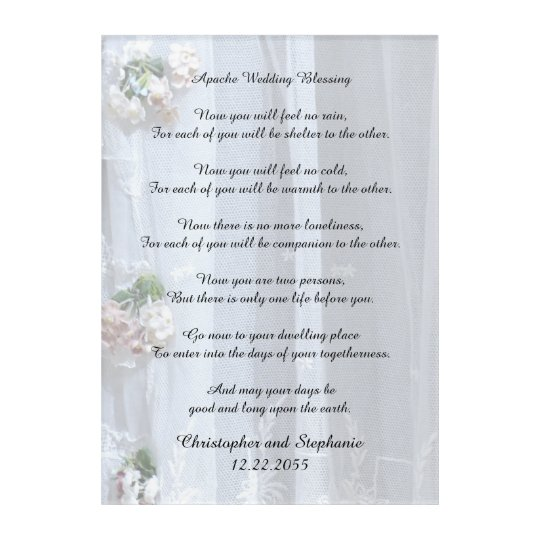 Apache Wedding Blessing 10x14 Personalized Acrylic Print