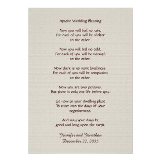 Apache Wedding Blessing 20x28 Faux Rustic Textured Print