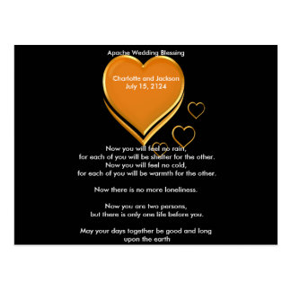 Apache Wedding Blessing Gold Hearts Postcard