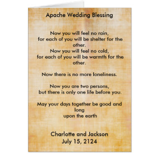 Apache Wedding Blessing Old Paper 3 Card