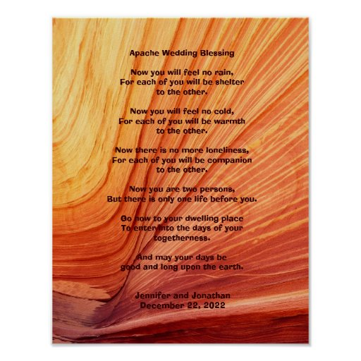 Apache wedding blessing poster 11 x 14 matte zazzle for 11x14 paper size
