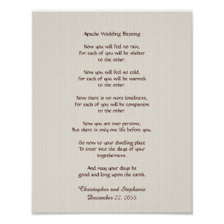 "Apache Wedding Blessing Poster 11"" x 14"" Rustic"