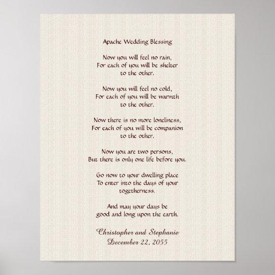"Apache Wedding Blessing: Apache Wedding Blessing Poster 11"" X 14"" Rustic"