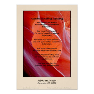 "Apache Wedding Blessing Poster 20"" x 28"" Custom"