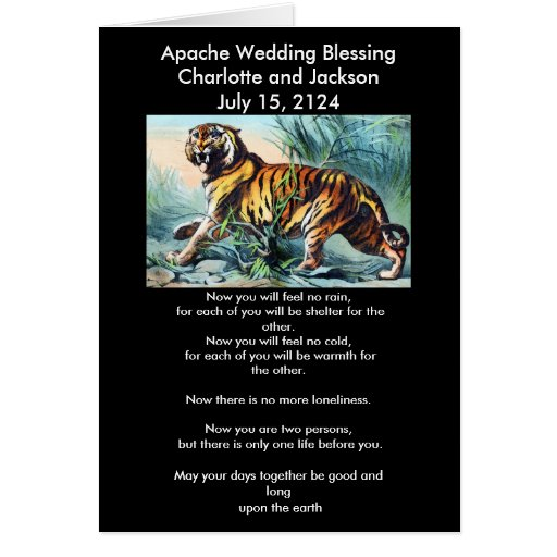 Apache Wedding Blessing Saber Toothed Tiger Greeting Card