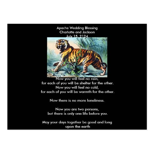 Apache Wedding Blessing Saber Toothed Tiger Post Card