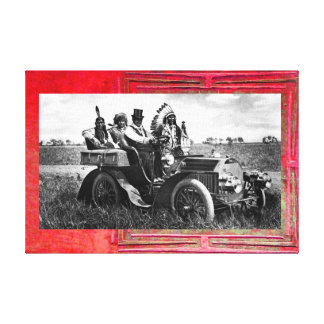 APACHES AND GERONIMO DRIVING A MOTOR CAR CANVAS PRINT