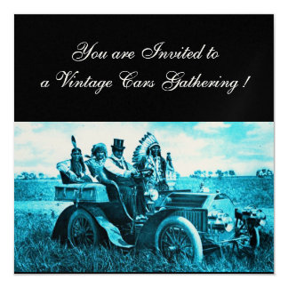 APACHES AND GERONIMO DRIVING A MOTOR CAR,champagne Card