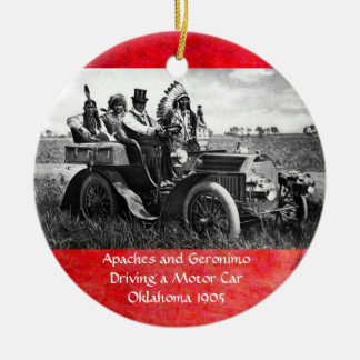 APACHES AND GERONIMO DRIVING A MOTOR CAR CHRISTMAS TREE ORNAMENTS