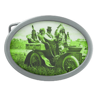 APACHES AND GERONIMO DRIVING A MOTOR CAR OVAL BELT BUCKLE