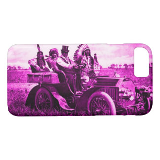 APACHES AND GERONIMO DRIVING A MOTOR CAR Pink iPhone 8/7 Case