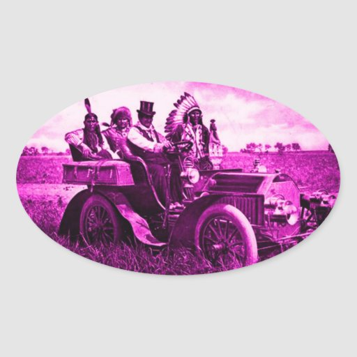 APACHES AND GERONIMO DRIVING A MOTOR CAR STICKER
