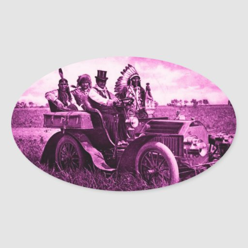 APACHES AND GERONIMO DRIVING A MOTOR CAR OVAL STICKERS