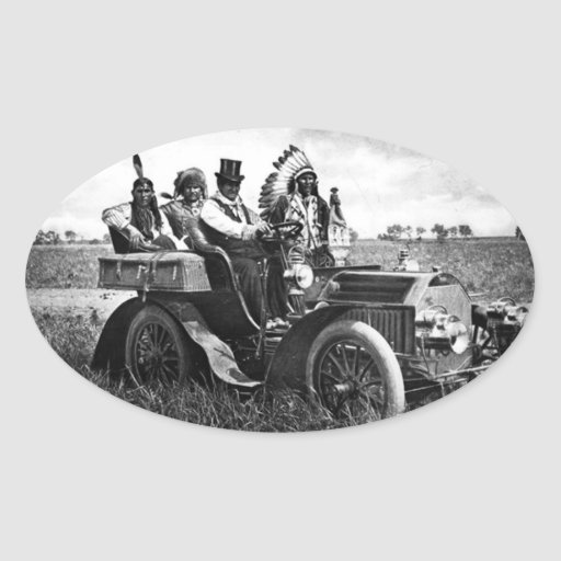 APACHES AND GERONIMO DRIVING A MOTOR CAR STICKERS
