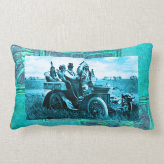 APACHES AND GERONIMO DRIVING A MOTOR CAR THROW PILLOW