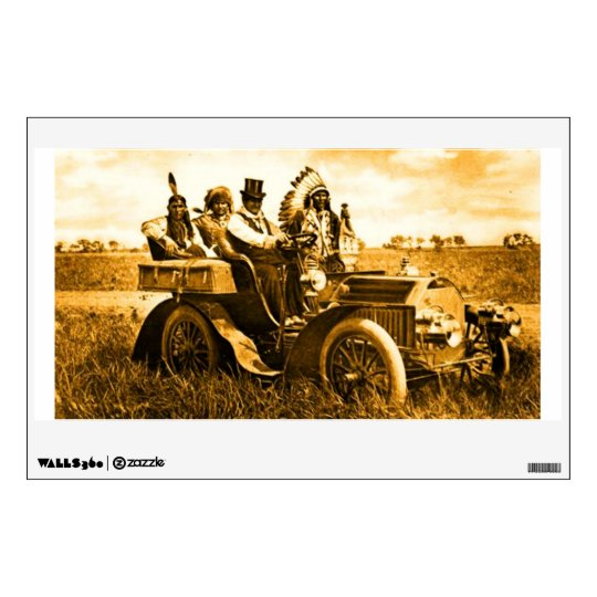 APACHES AND GERONIMO DRIVING A MOTOR CAR WALL DECAL
