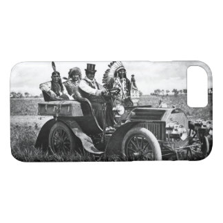APACHES AND GERONIMO DRIVING MOTOR CAR Black White iPhone 8/7 Case