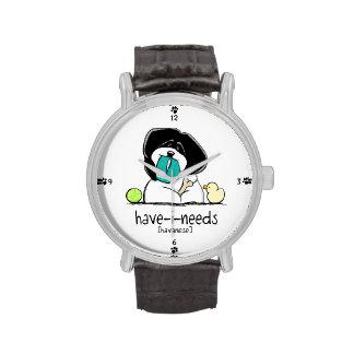 Apagado-Correo Art™ de Havanese de las Tener-yo-Ne Reloj