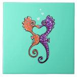 Apagado-Correo Art™ del beso del Seahorse Teja Ceramica