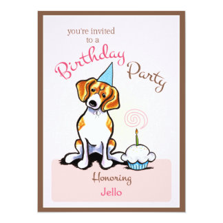 """Apagado-Correo Art™ del chica del beagle de la Invitación 5.5"""" X 7.5"""""""