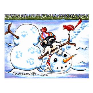 Apagado-Correo Art™ del muñeco de nieve del Postal