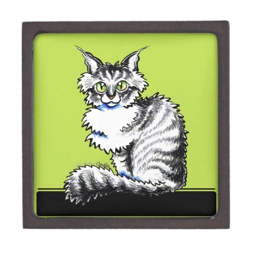 Apagado-Correo blanco Art™ del Tabby n del Coon de Cajas De Regalo De Calidad