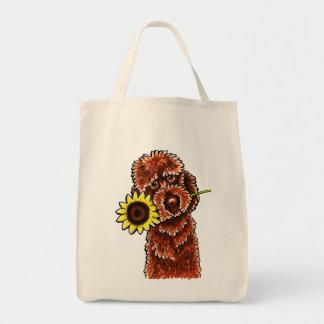 Apagado-Correo soleado Art™ de Labradoodle del cho Bolsas