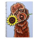 Apagado-Correo soleado Art™ de Labradoodle del cho Cuadernos