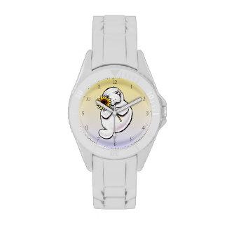 Apagado-Correo soleado Art™ del Manatee Reloj