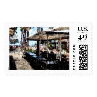 Apagado-tiempo en un restaurante timbre postal