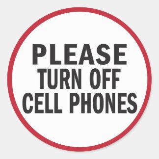 Apague por favor al pegatina de los teléfonos