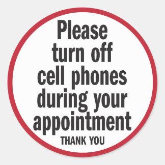Apague por favor los teléfonos celulares durante pegatina redonda