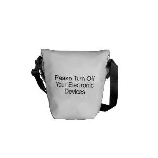Apague por favor sus dispositivos electrónicos bolsas de mensajería