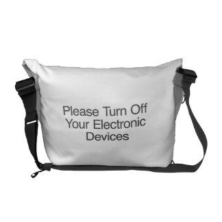 Apague por favor sus dispositivos electrónicos bolsas messenger