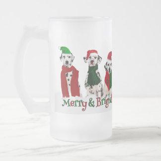 APAL - Christmas Dalmatian Dogs Frosted Glass Beer Mug
