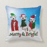 APAL - Christmas Dalmatian Dogs Paw Prints 2-sided Throw Pillows