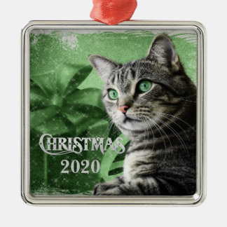APAL - Christmas Silver Tabby Cat | Custom Year Metal Ornament
